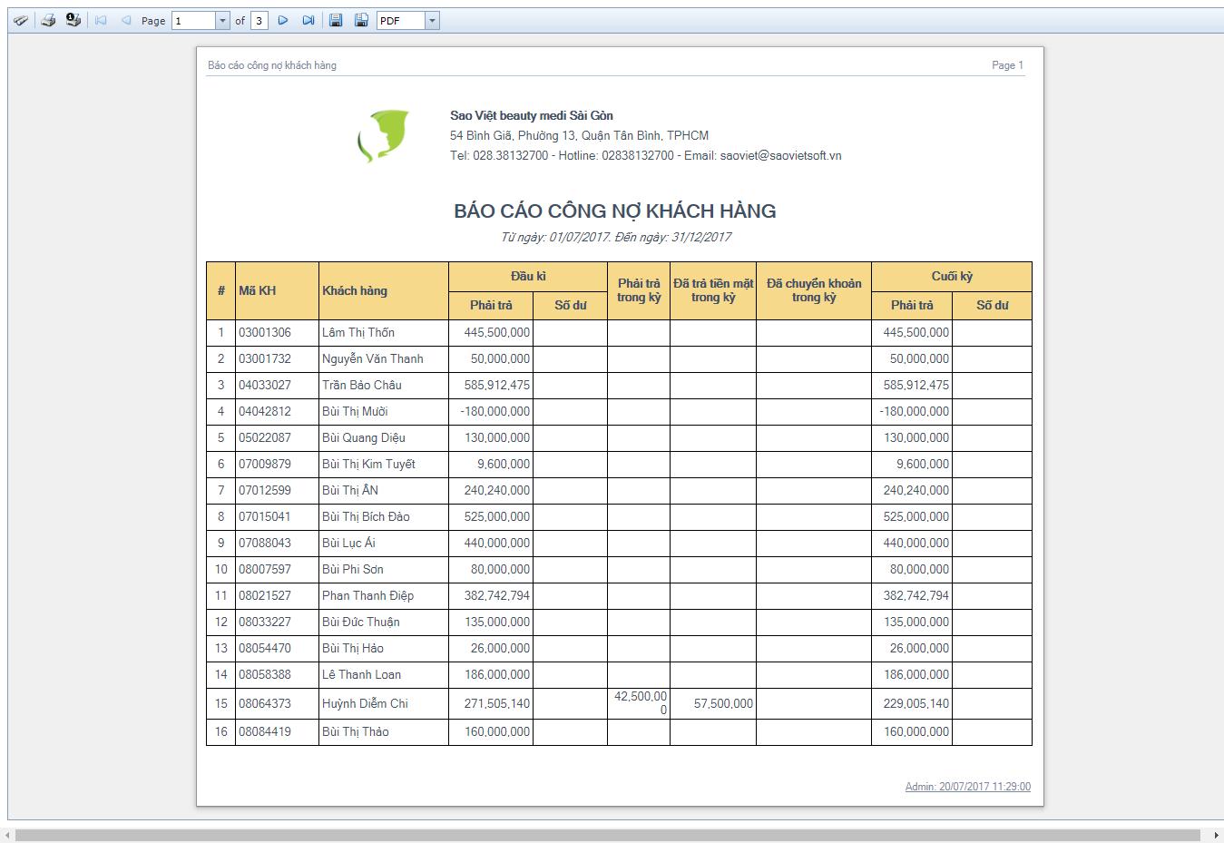 Báo cáo công nợ khách hàng