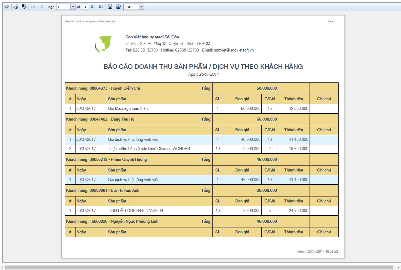 Báo cáo doanh thu sản phẩm / dịch vụ theo khách hàng
