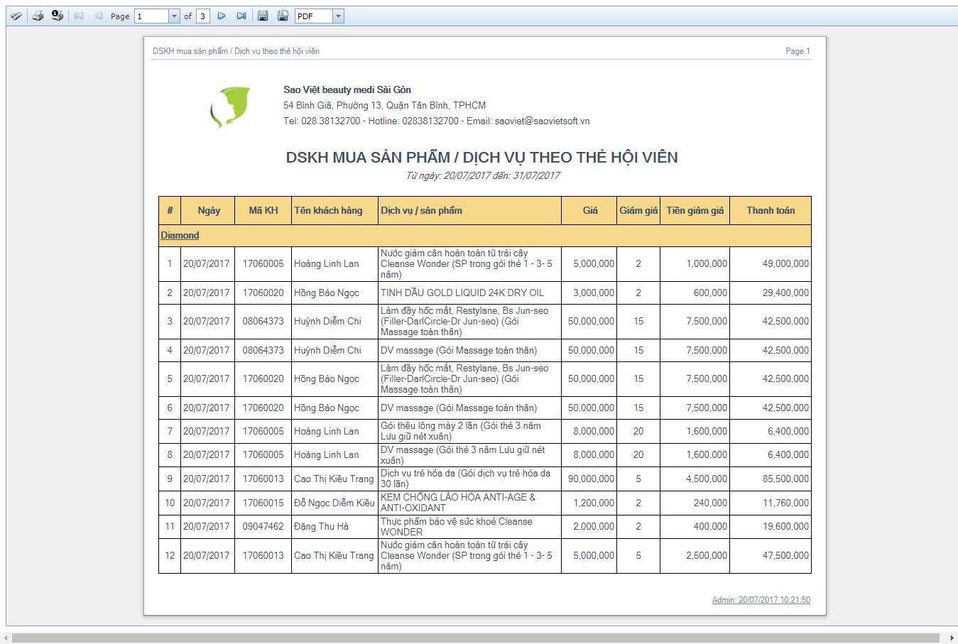 DSKH mua sản phẩm / dịch vụ theo thẻ hội viên
