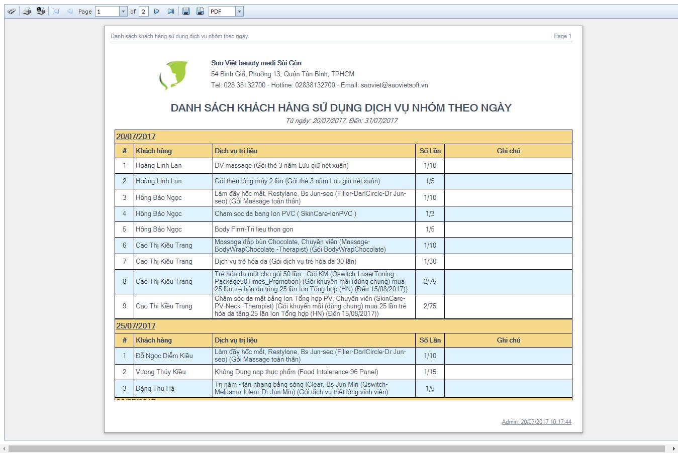 DSKH sử dụng dịch vụ nhóm theo ngày